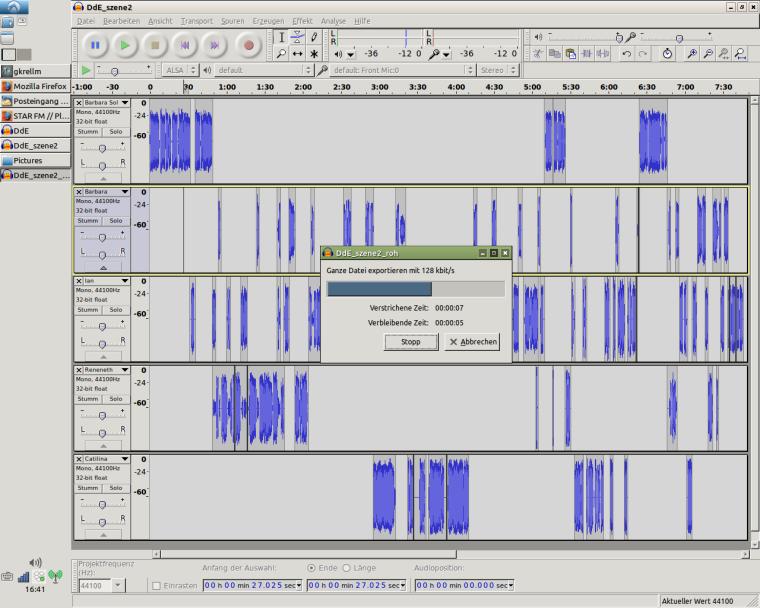 """Screenshot von """"Audacity"""": Szene 2 von """"Diener der Erkenntnis"""""""